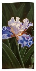 Purple And White Iris Beach Towel