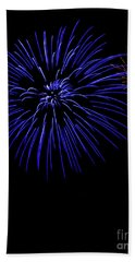 Beach Towel featuring the photograph Purple And Yellow Fireworks by Suzanne Luft