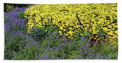 Purple And Yellow Flower Compound Beach Towel