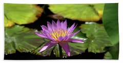 Purple And Yellow Water Lily Beach Towel