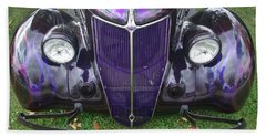 Purple Antique Ford Beach Towel