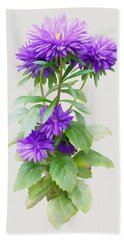 Beach Towel featuring the painting Purple Aster by Ivana