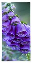 Purple Bell Flowers Foxglove Flowering Stalk Beach Sheet by Carol F Austin