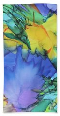 Beach Towel featuring the painting Purple Bird Of Paradise by Deborah Boyd