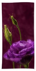 Purple Blossom And Buds Beach Towel