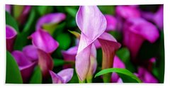 Purple Calla Lilies Beach Towel