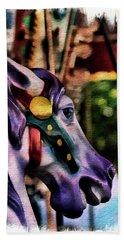 Purple Carousel Horse Beach Sheet