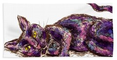 Beach Towel featuring the painting Purple Cat by Monique Faella