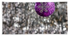 Beach Towel featuring the photograph Purple Christmas Bauble  by Ulrich Schade