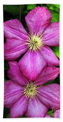 Purple Clematis 2 Beach Towel
