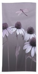 Purple Coneflowers And Dragonfly Beach Towel