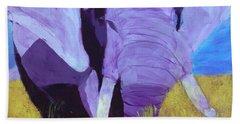 Purple Elephant Beach Towel by Donald J Ryker III