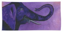 Purple Elephant Beach Towel by Nan Wright