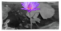 Purple Enlightened Lotus Beach Sheet
