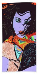 Purple Face Girl Beach Towel