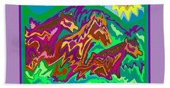 Purple Feathered Horses Beach Sheet