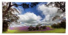 Purple Fields Beach Sheet by Douglas Barnard
