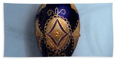 Purple Filigree Egg Ornament Beach Towel