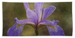 Purple Flag Iris Beach Towel by Patti Deters
