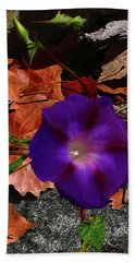 Purple Flower Autumn Leaves Beach Sheet