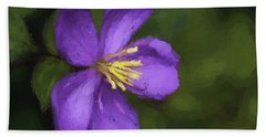 Beach Towel featuring the photograph Purple Flower Macro Impression by Dan McManus