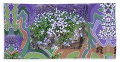 Purple Flower Textured Photo 1028d Beach Towel