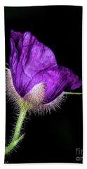 Purple Flowering Raspberry Beach Towel by Barbara Bowen