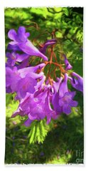 Purple Flowers Beach Sheet