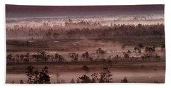 Purple Fog On Swamp Beach Towel by Teemu Tretjakov