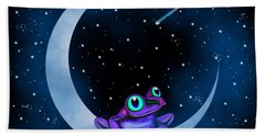 Purple Frog On A Crescent Moon Beach Towel