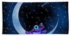 Purple Frog On A Crescent Moon Beach Towel