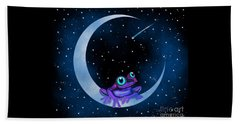 Beach Towel featuring the painting Purple Frog On A Crescent Moon by Nick Gustafson