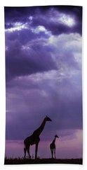 Purple Giraffes Beach Towel