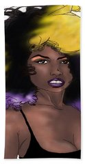 Beach Towel featuring the digital art Purple Girl by Jayvon Thomas