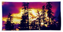 Beach Towel featuring the photograph Purple Haze Forest by Nick Gustafson