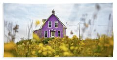 Purple House And Yellow Flowers Beach Towel