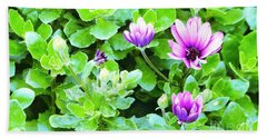 Purple In Greenery Beach Sheet