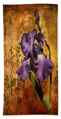 Purple Iris At Sunset Beach Towel