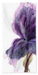 Purple Iris Beach Towel by Dawn Derman