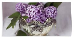 Purple Lilacs In Silver Bowl Beach Sheet