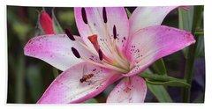 Beach Towel featuring the photograph Purple Lily by Elvira Ladocki
