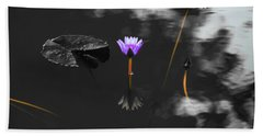 Purple Lily In Black And White Beach Towel