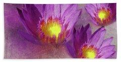 Purple Lotus Flower Beach Towel
