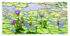 Purple Lotus Flower  Beach Sheet by Lanjee Chee