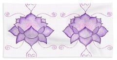 Purple Lotus II Beach Towel