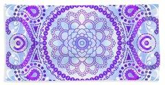 Beach Towel featuring the digital art Purple Lotus Mandala by Tammy Wetzel