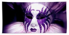 Beach Towel featuring the photograph Purple Mask Flash by Amanda Eberly-Kudamik