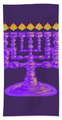 Purple Menorah Flamed Beach Towel
