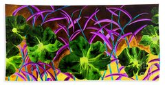 Purple Morning Flower Beach Towel