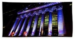 Purple New York Stock Exchange At Night - Impressions Of Manhattan Beach Towel